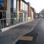 Commercial street and brickwork paving